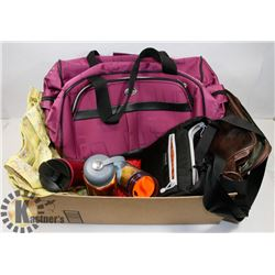 ASSORTED HAND BAGS WITH TRAVEL MUGS AND PURPLE