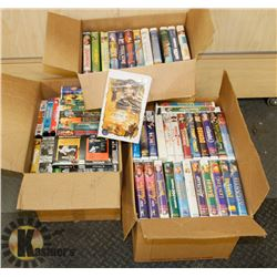 3 BOXES OF MOSTLY DISNEY VHS TAPES