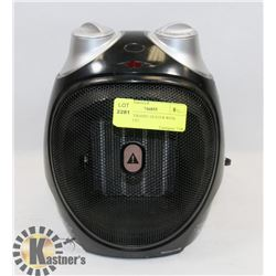BLACK CERAMIC HEATER WITH THERMOSTAT