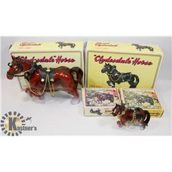 VINTAGE FLAT OF 4 CLYDESDALE HORSES