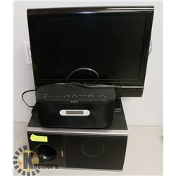 TV WITH BUILT IN DVD PLAY AND SONY SPEAKER SUB.