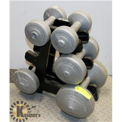 5PC DUMBBELL WEIGHTS AND STAND.