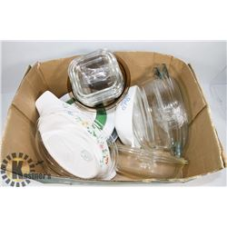 LOT OF ASSORTED GLASS OVENWARE