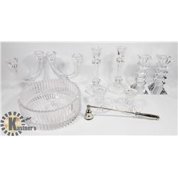 LOT OF ASSORTED CRYSTAL/GLASS CANDLE HOLDERS