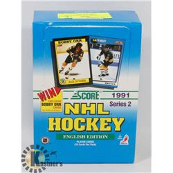 BOX OF SCORE 1991 SERIES 2 NHL HOCKEY CARD PACKS.