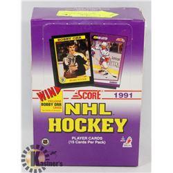 BOX OF 1991 SCORE NHL HOCKEY CARD PACKS.