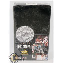 BOX OF 1991-92 NHL SERIES I PROSET CARD PACKS.