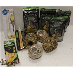 BOX OF ASSORTED BIRD ITEMS INCL FOOD, PERCH &