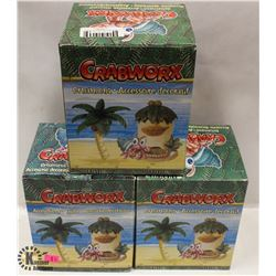 LOT OF 3 CRABWORX ORNAMENTS.