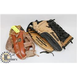 LOT OF TWO BASEBALL GLOVES