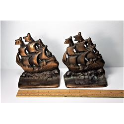 17)  SET OF 2 BRONZE SPANISH GALLEON