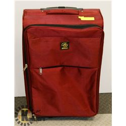 MAROON LUGGAGE WITH EXPANDABLE HANDLE AND WHEELS.