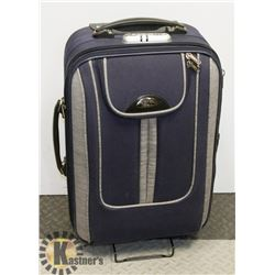 BLUE SUITCASE ON WHEELS WITH HANDLE