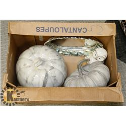 BOX OF ASSORTED FALL DECOR