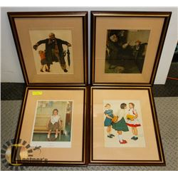SET OF 4 VINTAGE NORMAN ROCKWELL LITHOGRAPHS.