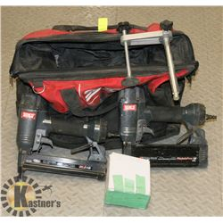 SENCO 18 GA NAILER AND STAPLER W/ CARRY BAG.