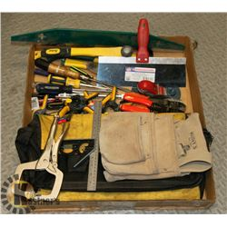 BOX W/ KUNYS TOOL BELT, CLAMPS, PLANE AND MORE.