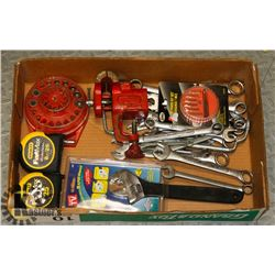 BOX W/ VARIOUS WRENCHES AND STANLEY MEASURING TAPE