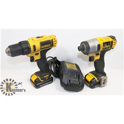DEWALT LITHIUM DRILL & DRIVER W/BATTERIES & CHARGER