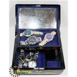 JEWELLERY BOX WITH WATCHES GENEVA AND FOSSIL
