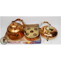 PAIR OF COPPER TEA KETTLES