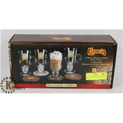 SET OF 4 KAHLUA GLASSES, NEW IN BOX