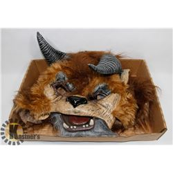 IMMORTAL WOLF MASK WITH HORNS AND SEPARATE JAW