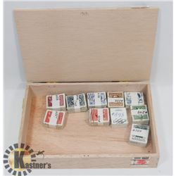 CIGAR BOX FILLED WITH 10 X 100 CANADIAN STAMPS