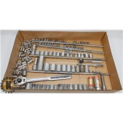 BOX W/ OVER 120 PCS OF SOCKETS AND WRENCHES.