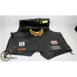 DIAMOND-PLATE GENUINE BUFFALO LEATHER VEST.