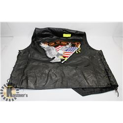 DIAMOND-PLATE BUFFALO LEATHER VEST.