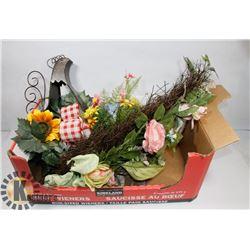 BOX OF NEW SILK FLOWERS/ARRANGEMENTS.