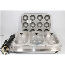 BOX OF 3 TRAY CHAFING DISHES AND BAKING TRAYS.