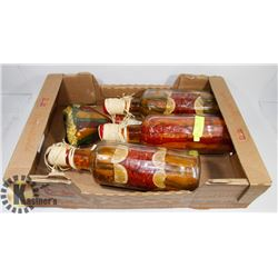 4 KITCHEN DECORATIVE BOTTLES WITH PEPPERS.
