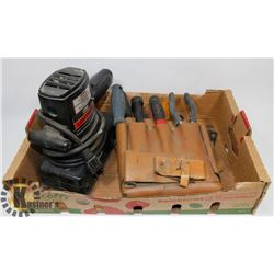 CRAFTSMAN ELECTRIC SANDER AND LEATHER POUCH FILLED