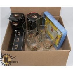 SET OF EPS GLASSES WITH 3 BEER GLASSES.