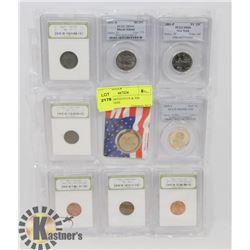 9 USA ASSORTED PCGS & INB GRADED COINS