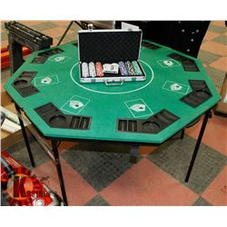 POKER TABLE , FOLDABLE WITH NEW SET OF CHIPS