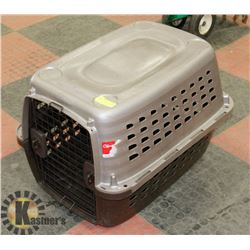 """BLACK AND SILVER MED SIZE DOG CARRIER 18""""X27""""X22""""."""