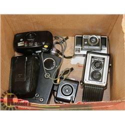 BOX OF VINTAGE CAMERAS