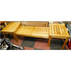 3PC WOODEN COFFEE TABLE AND END TABLE SET
