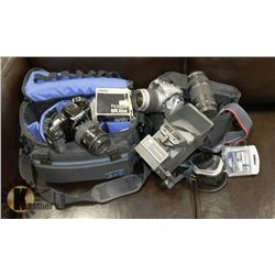 BUNDLE WITH CAMERAS AND ACCESSORIES INCLUDING BAGS