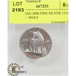 CANADIAN 2006 FINE SILVER 1/2 OZ $1 COIN - WOLF