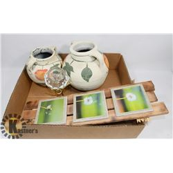 FLAT OF DECORATIVE POTS, CANDLE HOLDER & WALL