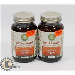 TWO PURICA LIONS MANE MICRONIZED MUSHROOMS