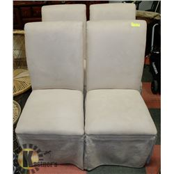 4 PORSON MICROFIBRE TAUPE CHAIRS.