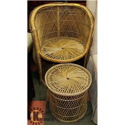 WICKER HIGH BACK CHAIR & STOOL.