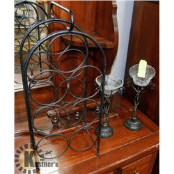 LOT W/ WINE RACK & CRACKLE GLASS CANDLE HOLDERS.