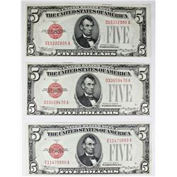 THREE 1928-B $5.00 U.S. NOTES