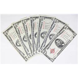 SEVEN U.S. $5.00 NOTES: